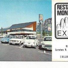 Cartas comerciales: TARJETA VISITA RESTAURANTE MONTSERRAT DE COLLBATO ( BARCELONA). Lote 156874382