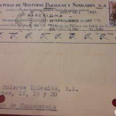 Cartas comerciales: 1957 BARCELONA MANUFACTURAS MONTURAS PARAGUAS Y SIMILARES PIO RUBERT LAPORTA.HIJOS PEDRO MARTIN. Lote 156877006