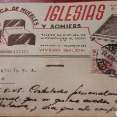 Cartas comerciales: 1948VIVERO LUGO IGLESIAS FABRICA FE MUEBLES Y SOMIERES. Lote 156877220