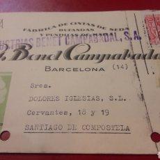 Cartas comerciales: 1944BARCELONA G.BENEET CAMPABADAL FABTIVA CINTAS SEDA U PUNTILLAS. Lote 156877501