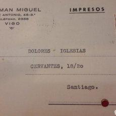 Cartas comerciales: 1948VIGO HERMAN MIGUEL..COMUNICACION CAMBIODE NUMERO DE CASA. Lote 156877812