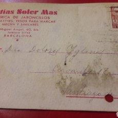 Cartas comerciales: 1944 BARCELONA MATUAS SOLER MAS FABRICA JABONCILLOS PARA SASTRES. Lote 156878197
