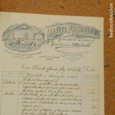Cartas comerciales: MANUEL RODRIGUEZ FONTANERO MECANICO. SILVA 23 MADRID. FIRMA PROPIETARIO.. Lote 156869954