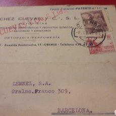 Cartas comerciales: 1949 ORENSE SANCHEZ CUEVAS ESPECIALIDADES. FARMACEUTICAS Y PRODUCTOS QUIMICOS .ORTOPEDIA.PERFUMERIA. Lote 156882490