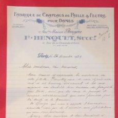 Cartas comerciales: CARTA COMERCIAL, FABRIQUE DE CHAPEAUX DE PAILLE, MAISON BRUYERE. F. HENQUET 1929. Lote 156970694