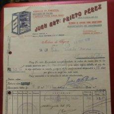 Cartas comerciales: JUAN ANTONIO PRIETO PÉREZ, FABRICAS DE PIMENTÓN. MOLINA DE SEGURA MURCIA.1939. Lote 158442138