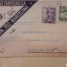 Cartas comerciales: 1933 BARCELONA MANUFATURAS DOMINGO FABREGAS. Lote 158592632