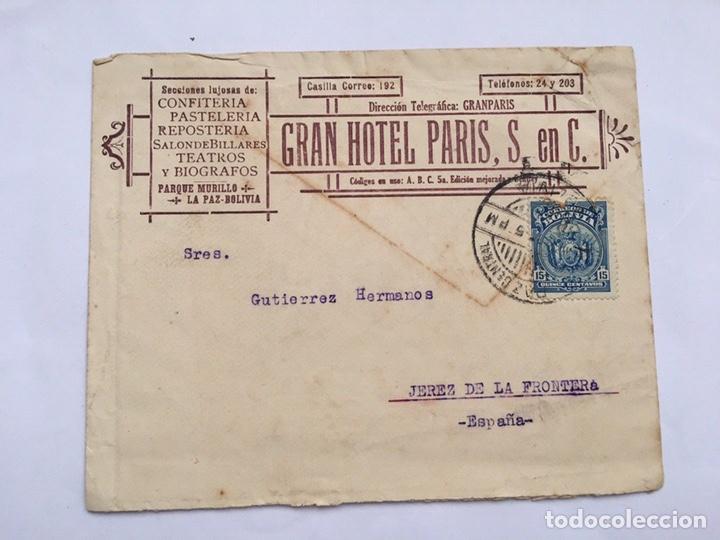 ANTIGUO SOBRE CARTA GRAN HOTEL PARIS S EN C PRINCIPIO 1900 (Coleccionismo - Documentos - Cartas Comerciales)