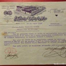 Cartas comerciales: FÁBRICA DE ALPARGATAS DE CÁÑAMO, YUTE ... ANTONIO CALPENA DIEZ. ASPE ALICANTE. 1938 CONTRO UGT. Lote 159115490