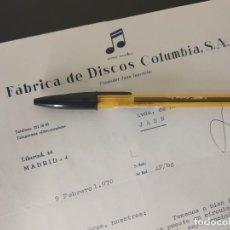 Cartas comerciales: FABRICA DE DISCOS COLUMBIA SA, JUAN INURRIETA. MADRID SAN SEBASTIAN 1970.. Lote 159764974