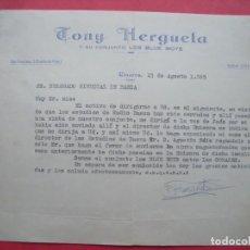 Cartas comerciales: TONY HERGUETA.-LOS BLUE BOYS.-MUSICA.-CARTA COMERCIAL.-FIRMADA.-LINARES.-AÑO 1965.. Lote 160748674