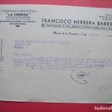 Cartas comerciales: FRANCISCO HERRERA BARRERA.-LA VERDAD.-VINOS.-ALCOHOLES.-ANISADOS.-MORON DE LA FRONTERA.-AÑO 1947.. Lote 160749422