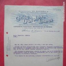Cartas comerciales: CARLOS DAVALOS LINARES.-DESTILERIAS LA ANTOÑITA.-LICORES.-ANISADOS.-MOLINA DE SEGURA.-MURCIA.-1947.. Lote 160749818