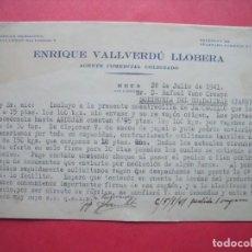 Cartas comerciales: ENRIQUE VALLVERDU LLOBERA.-AGENTE COMERCIAL COLEGIADO.-CARTA COMERCIAL.-REUS.-AÑO 1941.. Lote 160752394