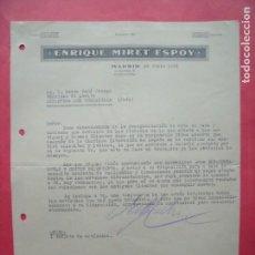 Cartas comerciales: ENRIQUE MIRET ESPOY.-CARTA COMERCIAL.-MADRID.-CASA EN ZARAGOZA.-AÑO 1941.. Lote 160752746