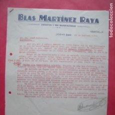 Cartas comerciales: BLAS MARTINEZ RAYA.-ESPARTOS Y SUS MANUFACTURAS.-ESPARTO.-CARTA COMERCIAL.-JODAR.-JAEN.-AÑO 1940.. Lote 160753002