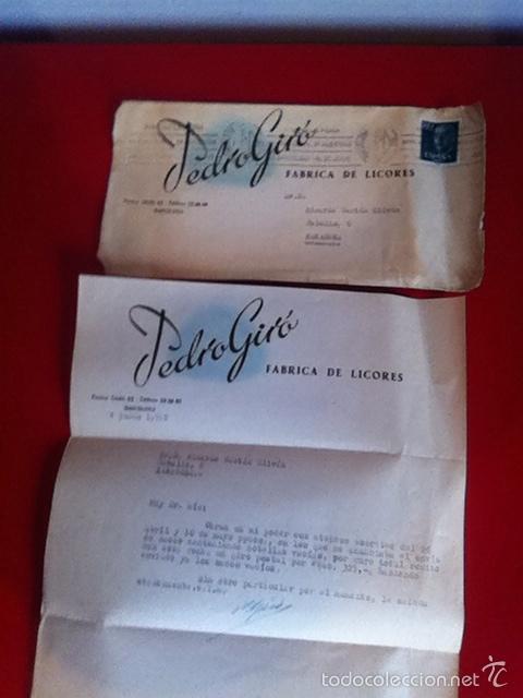FABRICA DE LICORES. PEDRO GIRÓ ( BARCELONA) CARTA Y SOBRE COMERCIAL 1958 (Coleccionismo - Documentos - Cartas Comerciales)