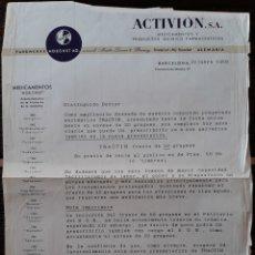 Cartas comerciales: DOCUMENTO PRODUCTOS QUÍMICOS FARMACÉUTICOS BARCELONA 1958. Lote 161426696