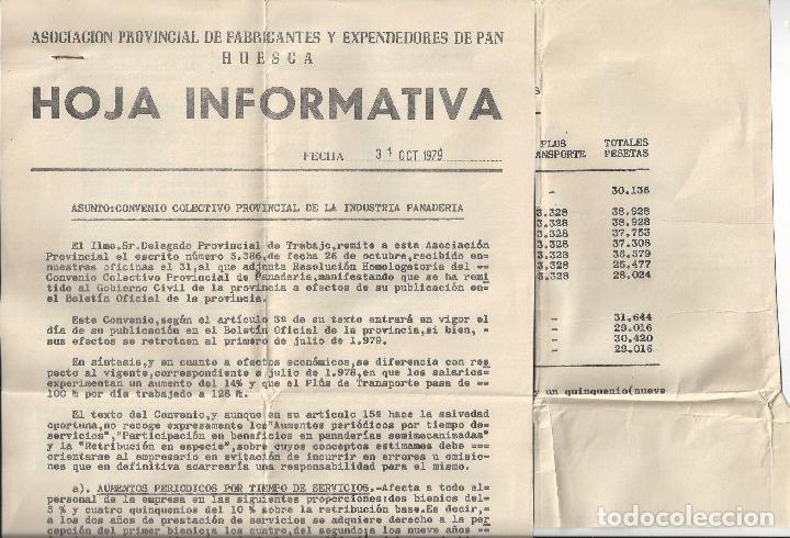 LOTE 6 DOCUMENTOS VARIOS FABRICANTES DE PAN / PANADERIAS. AÑOS 70/80. PROV. HUESCA (Coleccionismo - Documentos - Cartas Comerciales)