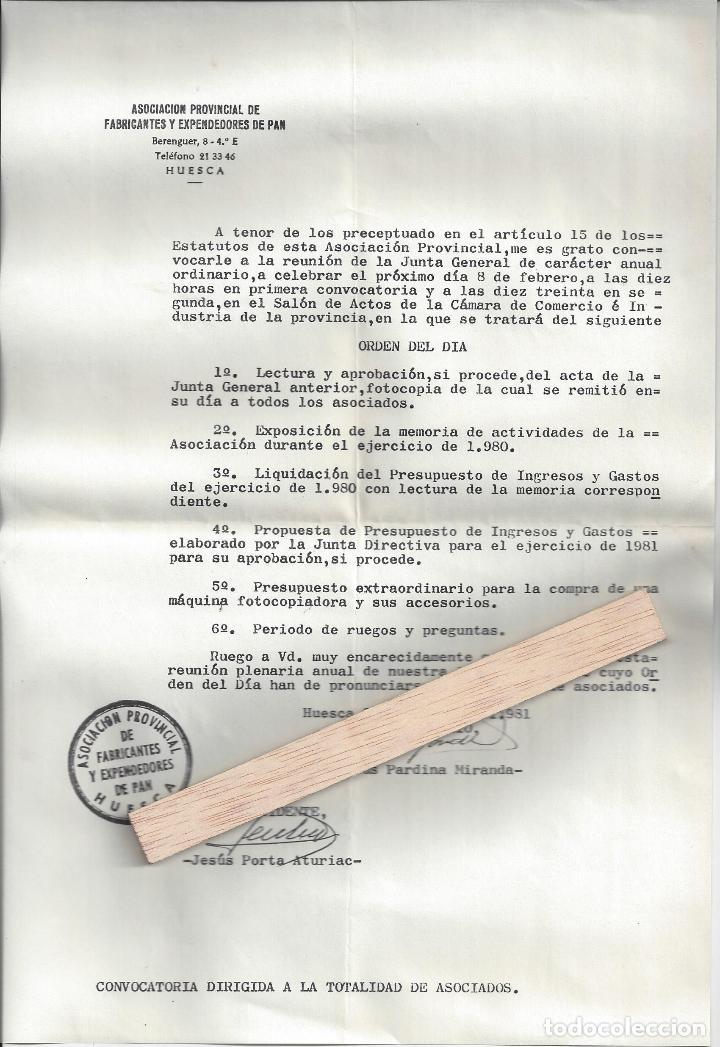 Cartas comerciales: LOTE 6 DOCUMENTOS VARIOS FABRICANTES DE PAN / PANADERIAS. Años 70/80. Prov. Huesca - Foto 3 - 162926118