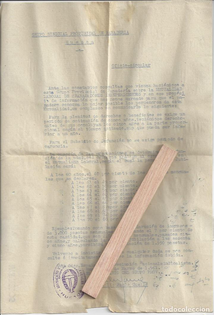 Cartas comerciales: LOTE 6 DOCUMENTOS VARIOS FABRICANTES DE PAN / PANADERIAS. Años 70/80. Prov. Huesca - Foto 5 - 162926118