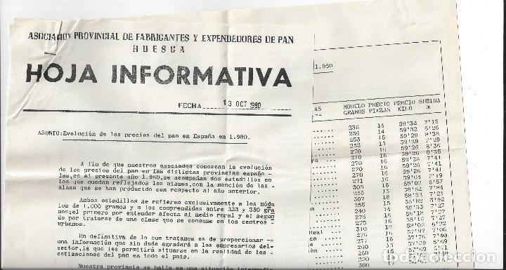 Cartas comerciales: LOTE 6 DOCUMENTOS VARIOS FABRICANTES DE PAN / PANADERIAS. Años 70/80. Prov. Huesca - Foto 6 - 162926118