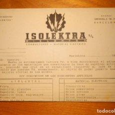 Cartas comerciales: CARTA COMERCIAL - ISOLEKTRA - BARCELONA 1943 . Lote 163303070