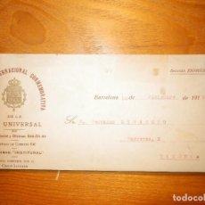 Cartas comerciales: CARTA - INSTITUCIÓN INTERNACIONAL CONMEMORATIVA DE LA PAZ UNIVERSAL - BARCELONA - 1918. Lote 163303166