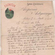 Cartas comerciales: SIDRA CHAMPAGNE. EUZKITZA. AIZPURUA Y ASTIGARRAGA. MOTRICO. GUIPUZCOA. FIRMA PROPIETARIO.. Lote 165264178