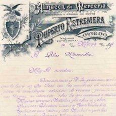Cartas comerciales: ALMACEN DE MERCERÍA. RUPERTO ESTREMERA. OVIEDO. FIRMA PROPIETARIO. . Lote 165265914