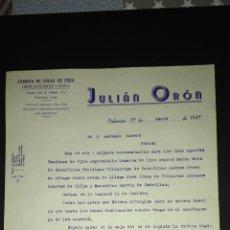 Cartas comerciales: CARTA COMERCIAL. JULIAN ORON. FABRICA DE VELAS. VALENCIA.. Lote 165711065
