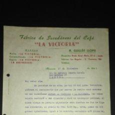 Cartas comerciales: CARTA COMERCIAL. SUCEDANEOS DE CAFE LA VICTORIA. ALICANTE.. Lote 165712005