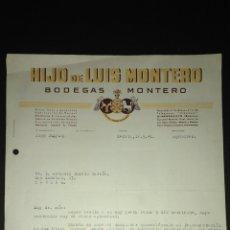 Cartas comerciales: CARTA COMERCIAL. BODEGAS MONTERO. ALMENDRALEJO. BADAJOZ.. Lote 165712270