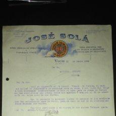Cartas comerciales: CARTA COMERCIAL. JOSÉ SOLA. EMBUTIDOS. VICH. BARCELONA.. Lote 165713160