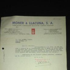 Cartas comerciales: CARTA COMERCIAL. MONER & LLACUNA S.A. REFINADO DE ACEITES. HOSPITALET. BARCELONA.. Lote 165714134