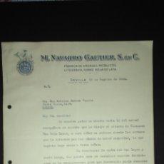Cartas comerciales: CARTA COMERCIAL. M.NAVARRO GAUTIER. ENVASES METALICOS. SEVILLA.. Lote 165714313