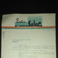 Cartas comerciales: CARTA COMERCIAL. TINTES COLOR RIDAURA. ALCOY. ALICANTE.. Lote 165716440
