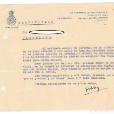 Cartas comerciales: CARTA COMERCIAL / LA CERÁMICA DE SAN JUAN - SAN JUAN DE AZNALFARACHE, 1940 - INTERCAMBIO DE LOTERÍA. Lote 165981474