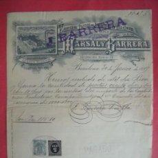 Cartas comerciales: MARSAL Y BARRERA.-FABRICA DE TEJIDOS.-HILO.-FACTURA.-SELLO.-POLIZA.-BARCELONA.-AÑO 1899.. Lote 166065278
