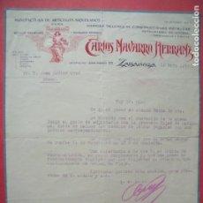 Cartas comerciales: CARLOS NAVARRO HERRANZ.-TALLERES DE CONSTRUCCIONES METALICAS.-CARTA COMERCIAL.-ZARAGOZA.-AÑO 1935.. Lote 166065354