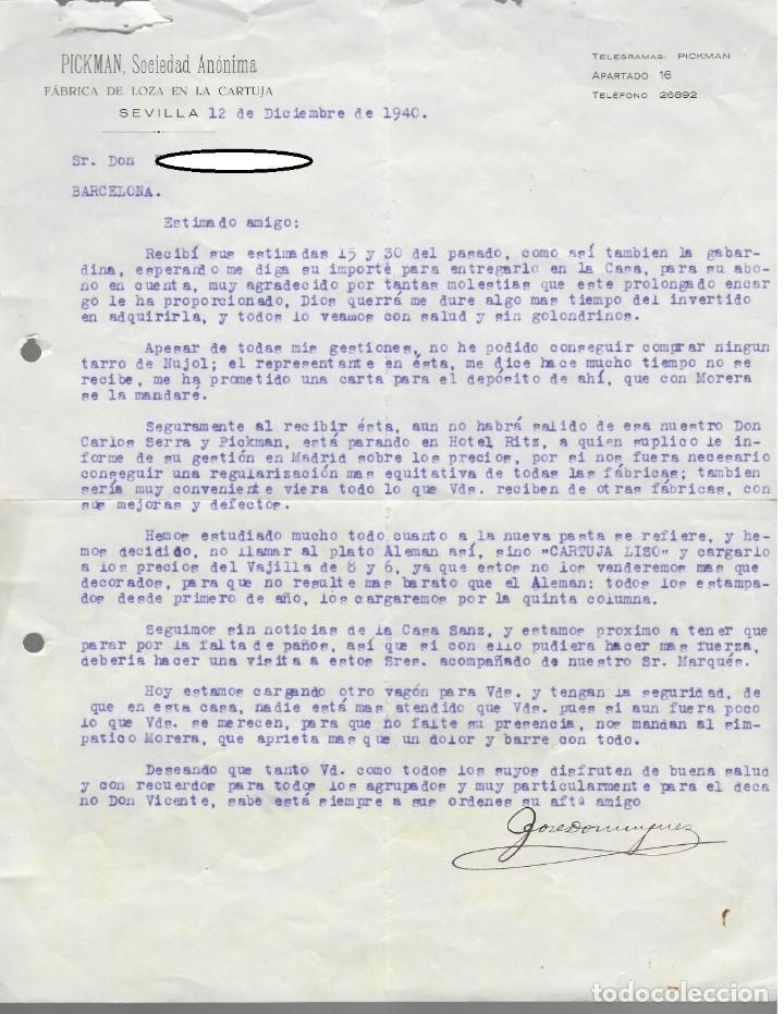 SIMPÁTICA CARTA COMERCIAL PICKMAN SOCIEDAD ANÓNIMA (1940) / PLATO CARTUJA LISO (ALEMÁN) (Coleccionismo - Documentos - Cartas Comerciales)