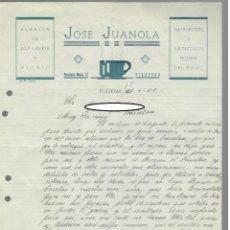 Cartas comerciales: 1938 / JOSÉ JUANOLA - CARTA MANUSCRITA PREGUNTANDO POR RECEPCIÓN DEL BACALAO - FALTA DE PAGO. Lote 166099410