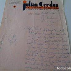 Cartas comerciales: CUENCA. JULIAN CERDÁN. COMESTIBLES FINOS LA CIUDAD ENCANTADA. CARTA PEDIDO 1937. GUERRA CIVIL. Lote 166938092