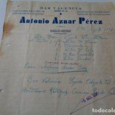 Cartas comerciales: SEGORBE. CASTELLÓN. BAR VALENCIA. ANTONIO AZNAR PÉREZ. CARTA PEDIDO. 1936. GUERRA CIVIL. Lote 166938384