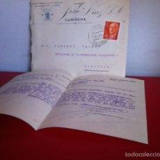 Cartas comerciales: FABRICA DE ALCOHOLES Y LICORES. FRANCISCO DÍAZ S.A.( CARIÑENA ) 1961. Lote 167534125
