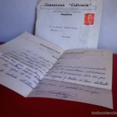 Cartas comerciales: CONSERVAS. CIDRIAIN ( PAMPLONA) 1966. Lote 167534440