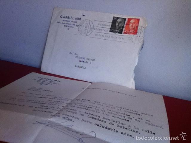 BOTELLAS VACÍAS. GABRIEL MIR. ( BARCELONA) 1966 (Coleccionismo - Documentos - Cartas Comerciales)