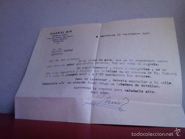 Cartas comerciales: Botellas Vacías. GABRIEL MIR. ( Barcelona) 1966 - Foto 3 - 167534629