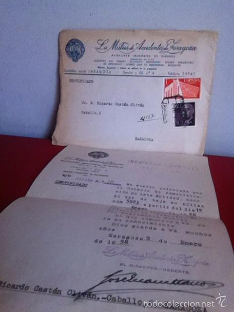 LA MUTUA DE ACCIDENTES DE ZARAGOZA 1958 (Coleccionismo - Documentos - Cartas Comerciales)