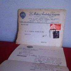 Cartas comerciales: LA MUTUA DE ACCIDENTES DE ZARAGOZA 1958. Lote 167534874